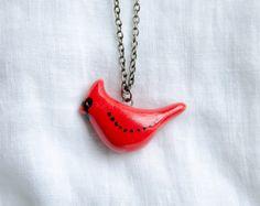 Ceramic Red cardinal bird pendant by msBIRDIEshop on Etsy
