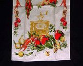 Vintage Vegetable Tea Towel Printed Kitchen Linen Coffee Mill Grinder Cream Background 29 Inch By 16  Inch Orange Green Gold Mid Century