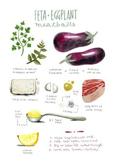 Kat Frank felicita sala Dawn Tan I really do love illustrated recipes! It demonstrates the love and handiwork put into cooking and baking. It gives shows the process of creating and perfecting a re... Eggplant Meatballs, Lamb Meatballs, Recipe Drawing, Food Sketch, Watercolor Food, Food Journal, Recipe Journal, Journal Ideas, Food Drawing