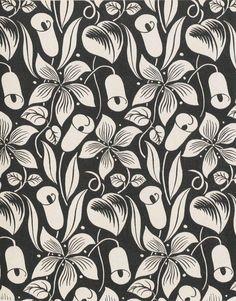 floral : black & white : Les Cornets, toile imprimée de Tournon dessinée par Raoul Dufy, 1919, Paris, Musée de la Mode et du Textile