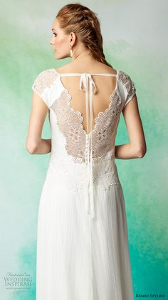 rembo styling 2017 bridal cap sleeves v neck lightly embellished bodice simple elegant bohemian sheath wedding dress sweep train (anakin) zbv