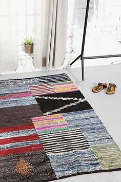 4040 Locust Patched Leather Rag Rug - Urban Outfitters