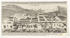 Anonymous | Overstroming te Scheveningen op Allerheiligen, 1 november 1570, Anonymous, Gerrit van der Giessen, 1730 - 1799 | Gezicht op het dorp Scheveningen getroffen door een overstroming door een vloedgolf op Allerheiligen, 1 november 1570. Hierbij werden 128 huizen verwoest en verdronken 3 personen. Met onderschrift van 4 regels in het Nederlands.
