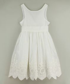 Blossom Couture Ivory V-Back Eyelet Bow Dress - Toddler & Girls