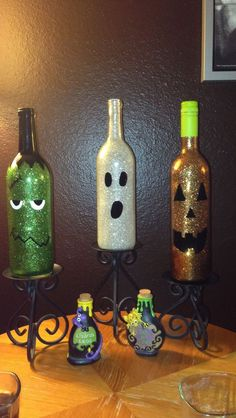 Halloween Bottle Decorations 1000 Ideas About Wine Bottle Crafts On Pinterest  Bottle Crafts