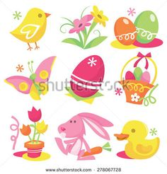 A set of nine different easter and spring related stock vector illustration design elements.