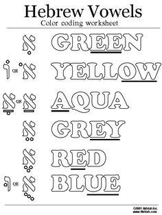 Here is an easy way to remember the vowels in Hebrew - Color them in