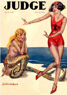 Judge magazine, 1926. Sad mermaid can't Charleston.