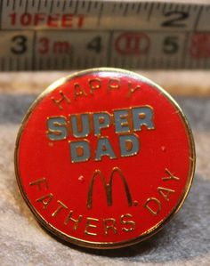 McDonalds Happy Super Dad Fathers Day Employee Collectible Pinback Pin Button #McDonalds