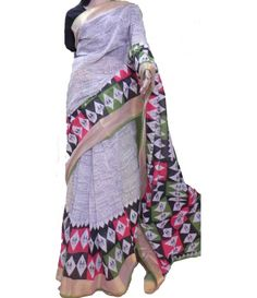 Off-White Block Print Kerala Cotton Saree