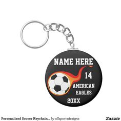 Personalized Soccer Keychains with Player's Name  Personalized Soccer Keychains with Name of player`s,Name of team,Number of jersey and the Year on it. Background color can be change to team color this cheap soccer keychains is great for a gift. Delete any or all text. IMPORTANT Personalize each soccer keychain, ONE at a Time, ADD that keychain to CART.