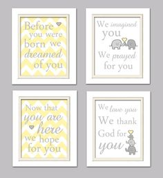 SALE 20% OFF Nursery Quad Yellow and Gray Nursery by ChicWallArt