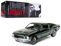 """1968 Ford Mustang GT Fastback """"Bullitt"""" Steve Mcqueen Highland Green 1/18 Diecast Car Model by Greenlight - Brand new 1:18 scale diecast model car of 1968 Ford Mustang GT Fastback """"Bullitt"""" Steve Mcqueen Highland Green die cast model car by Greenlight. Brand new box. Rubber tires. Has steerable wheels. Has opening hood, doors and trunk. Made of diecast with some plastic parts. Detailed interior, exterior, engine compartment. Dimensions approximately L-10, W-4, H-3.5 inches.-Weight: 4…"""