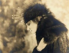 """1918 portrait by de Meyer of Ziegfeld's top showgirl, Dolores. She was six feet tall, and had been a mannequin for designer Lucille, where Ziegfeld's wife, Billie Burke, bought clothing. The story goes that Billie told Ziggy about Dolores and he persuaded the British beauty to work for him. She paraded around the stage with the perfect """"Ziegfeld walk"""", and was his top-paid showgirl for a while. She eventually married a millionaire in NYC."""