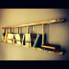 Ladder hung on wall for a bookshelf