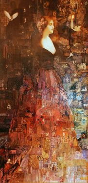 "Saatchi Art Artist: Tricia Newell; Decoupage Collage ""The Ghost of Kirstie McBride"""