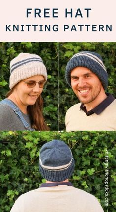 The Alex Hat is a classic knit hat pattern. The simple design and modern stripes make it perfect a perfect women or men's hat knitting pattern. Worked in the round (on circular needles or use double pointed needles) in worsted weight yarn, it's a quick hat knitting pattern. Find the free beanie knitting pattern here on Knitting with Chopsticks.