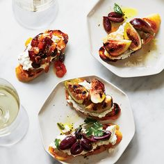 These gorgeous crostini are all about the homemade ricotta (though store-bought works, too). Top with tangy grilled figs, herbed olive tapenade or dried fruit compote for an easy appetizer.