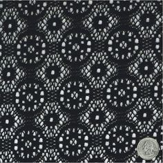 Vintage Black Treasure Crochet Lace Fabric by the Yard, Wedding, Bridal, Table Runner, Decoration, Crochet Lace Fabric - Style 185