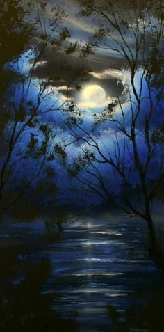 Mother Moon breaks from the embrace in order to soar, while her insecure Cloud Children cling tightly.       Theo Dapore - Moonscape painting in blue