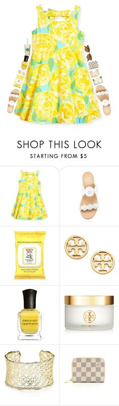 """I'm walking on sunshine"" by lacrosse-19 ❤ liked on Polyvore featuring Lilly Pulitzer, Jack Rogers, Burt's Bees, Tory Burch, Deborah Lippmann, Kendra Scott, Louis Vuitton and Ray-Ban"