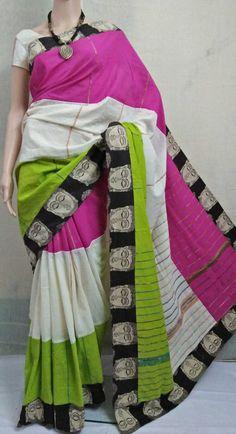 Pure cotton Handloom khes saree with kalamkari border Kalamkari Fabric, Kalamkari Saree, Cotton Saree, Indian Outfits, Blouse Designs, Beautiful Outfits, Sarees, Most Beautiful, Silk