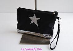 Pochette Simili Cuir Croco Noir Etoile Paillettes Argent Fait Main @lacouturebytitia : Sacs à main par la-couture-by-titia