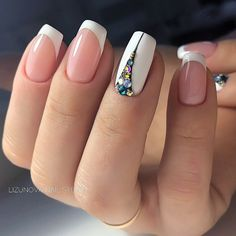 I would never have plain white tips but I love the idea of that accent nail