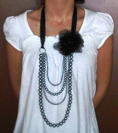 black silk flower with pearls necklace