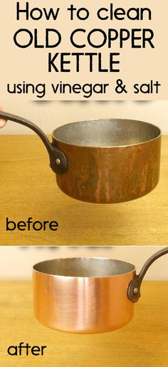 How to clean an old copper kettle using vinegar and salt Best Cleaning Products, Household Cleaning Tips, Cleaning Hacks, Copper Cutlery, Copper Mugs, Diy Cleaners, Cleaners Homemade, Copper Cleaner, How To Clean Copper