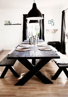 Embrace the Relaxed Style of Indoor Picnic Tables - A dining space the entire family can enjoy. picnic table ideas Embrace the Relaxed Style of Indoor Picnic Tables Kitchen Table Bench, Dinning Room Tables, Dining Room Design, Dining Rooms, Dark Wood Dining Table, Dining Chairs, Indoor Picnic, My New Room, Home Design