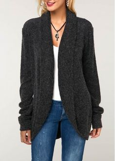 I like the look of this Long Sleeve Dark Grey Curved Hem Knitting Cardigan, especially the sleeves length since my arms are usually too long for most sweaters. Cardigan Sweaters For Women, Cardigans For Women, Long Sleeve Sweater, Ladies Sweaters, Cheap Cardigans, Stylish Tops For Girls, Trendy Tops For Women, Mohair Sweater, Sweater Cardigan