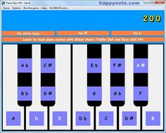http://www.happynote.com/en/piano-game.html - Piano Keys HN is a FREE GAME to learn the keys names of a piano keyboard. The game let you choose the piano keys to play with: just the white keys, just the black keys or all keys together. For the black keys, it is possible to choose between the # (sharps) and the b (flats) or both # and b. An Hi Score rewards the best players !