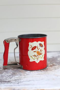 I have one of these!  Androck kitchen flour sifter with red wooden by thisvintagething, $24.99