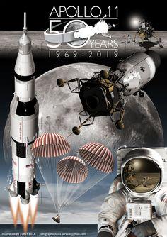 Apollo 11 & Apollo 12 moon landing infographic poster on Behance