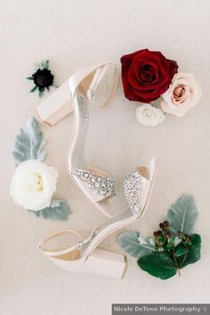 Beaded ivory wedding shoes + classic winter wedding accessory photography {Nicole DeTone Photography}