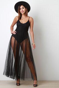 Pleated Semi Sheer Mesh Skirt Bodysuit Stlye Dress