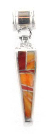 David Rosales Desert Fire Inlaid Sterling Silver Pendant