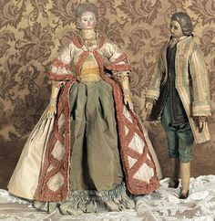 18thC French wooden court dolls. The dolls were created for the French court of the late 18thC, and used in various theatrical and play presentations that portrayed the latest court scandals and goings-on.