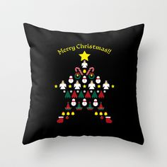 FLAT CHRISTMAS series -CHRISTMAS STAR_B Throw Pillow by SEOL.D - $20.00