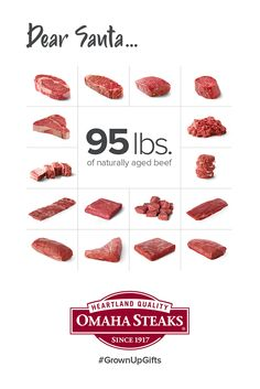 Full quarters of Omaha Steaks beef, eye-popping complete gift experiences, and huge premium meat collections. Christmas Gifts For Mom, Holiday Gifts, Aged Beef, Omaha Steaks, Holiday Gift Baskets, Experience Gifts, Corporate Gifts, Xmas Gifts, Christmas Presents For Mum