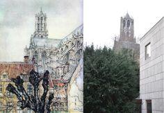Zicht op de Dom, Utrecht Foto genomen vanaf het zelfde stoepje als waar AP zat toen hij dit tekende. Bebouwing en begroeiing is hier wel veranderd.... Anton Pieck, Amsterdam Art, Utrecht, Barcelona Cathedral, Building, Travel, Kunst, Construction, Voyage