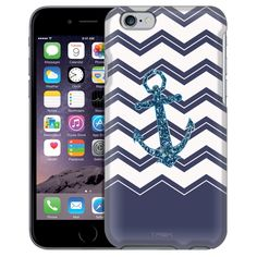 Apple iPhone 6 Chevrons Faux Glitter Anchor Navy Case from Trek Cases Anchor Phone Cases, Apple Iphone 6, Trek, Chevron, Glitter, Messages, Navy, Products, Hale Navy