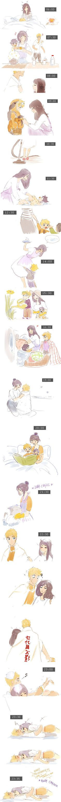 The life of a mother. Is this an anime/manga because its soon cute! It's Naruto and Hinata? Hinata Hyuga, Naruto Uzumaki, Himawari Boruto, Sasuke Sakura, Kakashi, Couples Anime, Naruto Couples, Comic Naruto, Naruto Funny