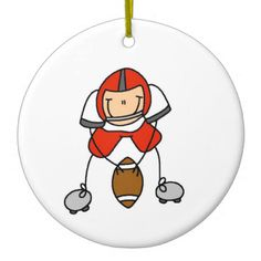 Stick Figure Football Red Christmas Ornaments