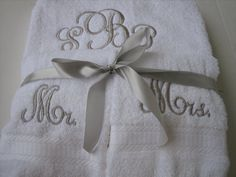 Mr & Mrs Monogram Towel Set - One Bath Towel, 2 Hand Towels on Etsy, $45.00