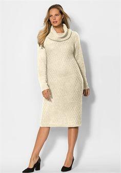 Plus Size Textured Cowlneck Sweater Dress