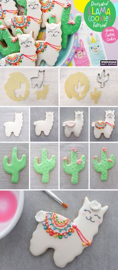 Llamas are sweet but these llama cookies are sweeter. Find out how to recreate these cookies for your llama birthday party! Cake Pops Rosa, Sugar Cookie Royal Icing, Sugar Cookies, Llama Birthday, Wholesale Party Supplies, Icing Colors, Cookie Tutorials, Cute Cookies, Farm Cookies