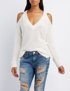 Shaker Stitch Cold Shoulder Sweater | Charlotte Russe