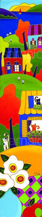 Le pot turquoise et la compagne par Isabelle Malo • Acrylique sur toile • Folk art  • www.isamalo.com • Artiste peintre du Québec •Art naïf